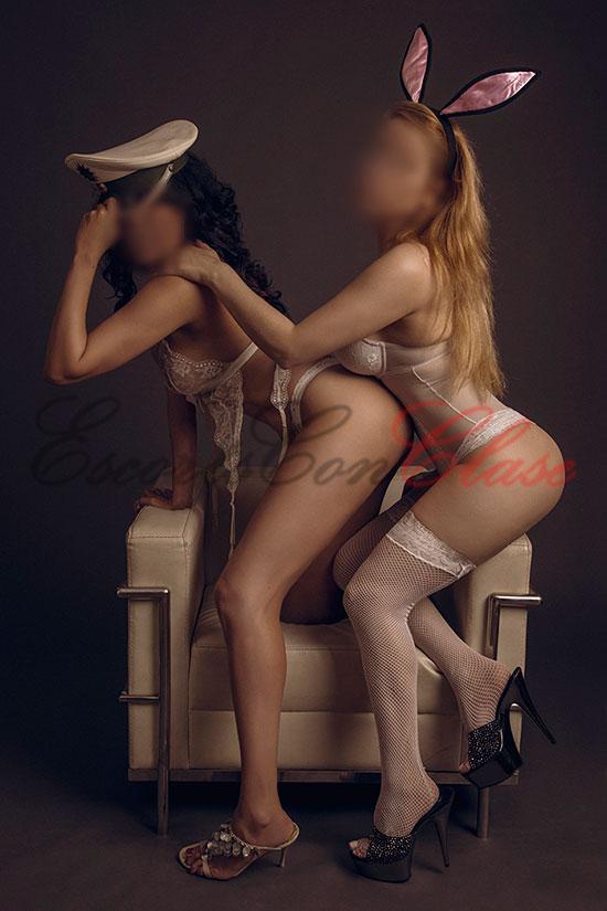 Duplo de escorts lujo en lencería las dos. Kim y Eva